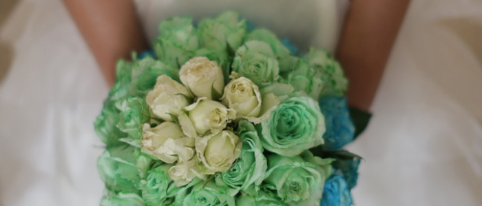 green and blue wedding bouquet