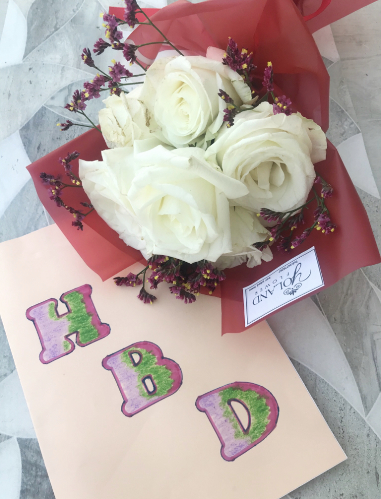 birthday flowers and card